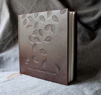 custom brown leather falling leaves anniversary journal