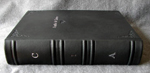 black leather anniversary journal set spine