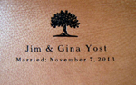 tan leather oak tree anniversary journal back cover detail