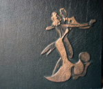 dark green leather dancing couple anniversary journal front detail