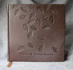 dark brown leather falling leaves anniversary journal front