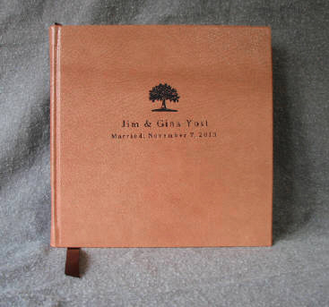 custom tan leather oak tree anniversary journal