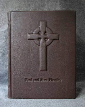 custom dark brown goatskin leather celtic cross journal
