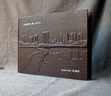 custom burgundy leather columbus skyline wedding guest book