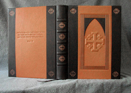custom leather church door retirement book