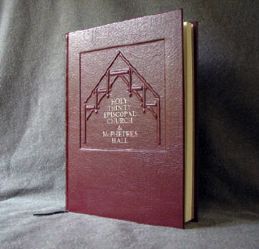 custom red leather church donation record book