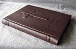 custom dark brown leather celtic cross journal spine