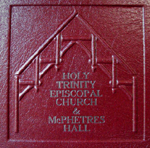 custom red leather church architecture donation book front detail