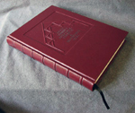 custom red leather church architecture donation book flat