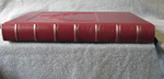 custom red leather church architecture donation book spine