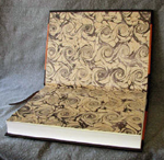 custom leather architectural church door retirement book marbled endpapers