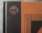 custom leather architectural church door retirement book front cover corner detail