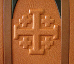 custom leather architectural church door retirement book front cover cross detail
