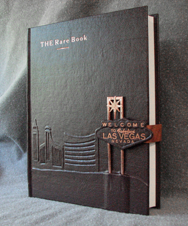Las Vegas Nevada skyline burgundy leather journal front