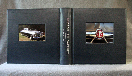 custom navy leather baby album with vintage hudson automobile