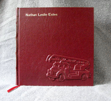 custom red leather preschool record book with fire truck