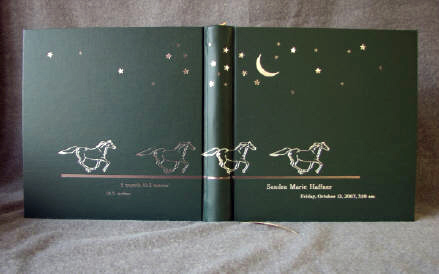 custom dark green baby book and album set with running horses