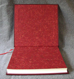 red leather baby fire engine journal endpapers