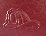 red leather baby fire engine journal back detail