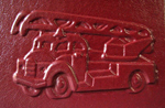 red leather baby fire engine journal front detail