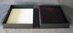 burgundy leather monkey baby album custom cloth covered clamshell box open flat