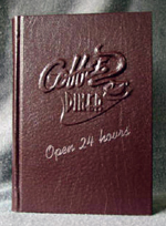 custom burgundy leather journal with vintage diner coffee raised design front