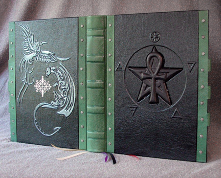 book of shadows ankh pentacle phoenix dragon legbas elements leather silver
