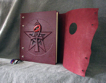custom burgundy leather book of shadows with pentacle pentagram and ankh with eye