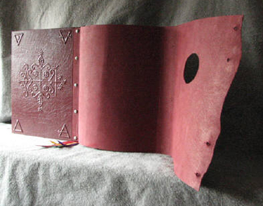 custom burgundy leather intricate book of shadows with pentacle ankh and wrap cover back