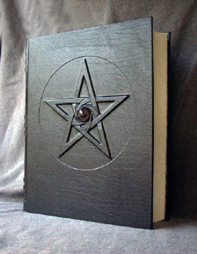 custom oversized black leather book of shadows with pentacle pentagram and elephant eye