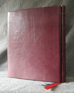 custom burgundy leather book of shadows with pentacle ankh eye symbols back cover with wrap on