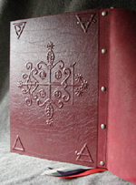 custom burgundy leather book of shadows with pentacle ankh eye symbols back cover symbols