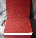custom burgundy leather book of shadows with pentacle ankh eye symbols marbled endpapers