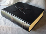 custom black leather book of shadows with pentacle and eye flat