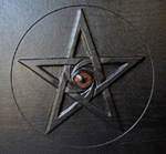 custom black leather book of shadows with pentacle and eye front detail