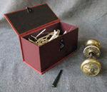 custom doorknob hardware gift box open with contents