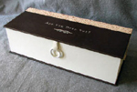 custom modified clamshell retirement leather gift box with attached leather book hammer and silver ring pull closed