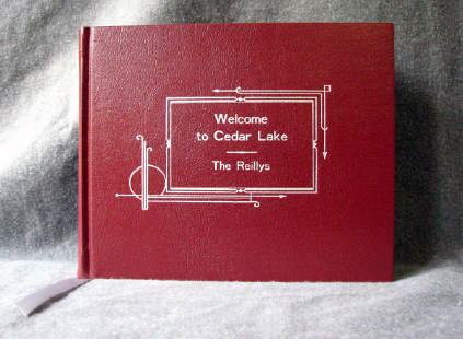 custom red leather art deco style cookbook recipe book
