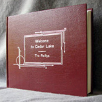 custom red leather cookbook with art deco design front