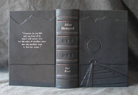 custom gray leather collector atlas shrugged rebinding ayn rand