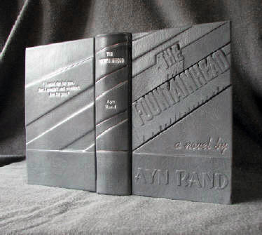 custom gray leather rebinding of the fountainhead ayn rand