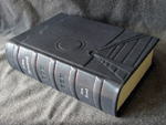 custom gray leather rebinding of ayn rand atlas shrugged spine