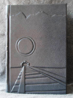 custom gray leather rebinding of ayn rand atlas shrugged front cover 2