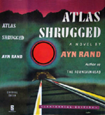 custom gray leather rebinding of ayn rand atlas shrugged original cover art