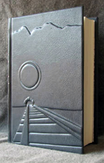custom gray leather rebinding of ayn rand atlas shrugged front cover 1