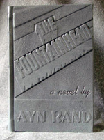 custom gray leather rebinding or ayn rand the fountainhead front cover
