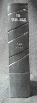 custom gray leather rebinding or ayn rand the fountainhead spine