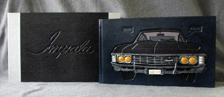 supernatural impala 1967 chevy blank book leather journal diary autograph book and clamshell box set