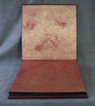 intricate leather chinese imperial dragon album with pearl red and gold endpapers