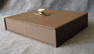 custom cloth covered clamshell box for book with antique hardware latch front flat